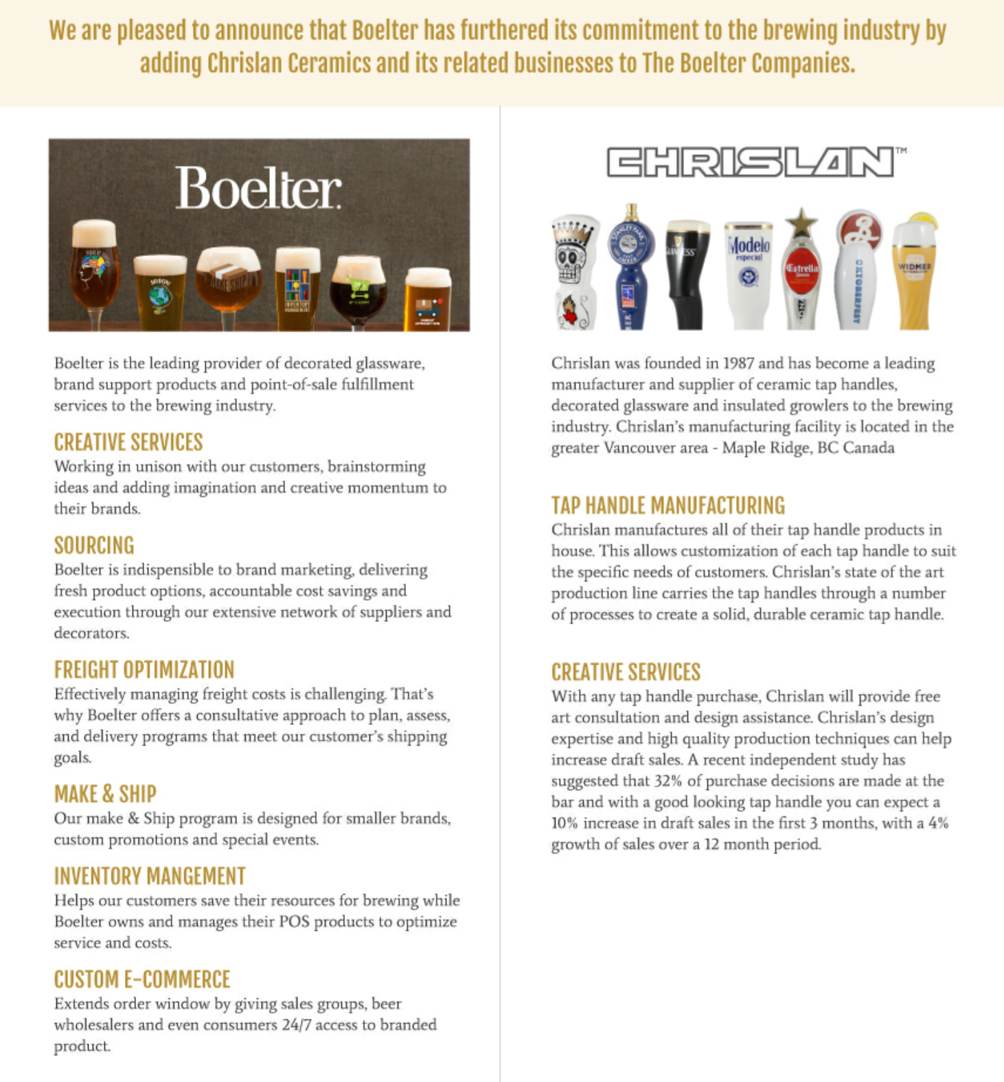 Boelter announces it has furthered its commitment to the brewing industry by adding Chrislan Ceramics.