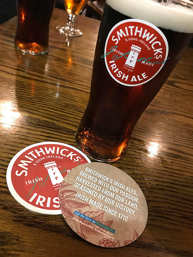 Smithwick's Brewery glassware and coasters.