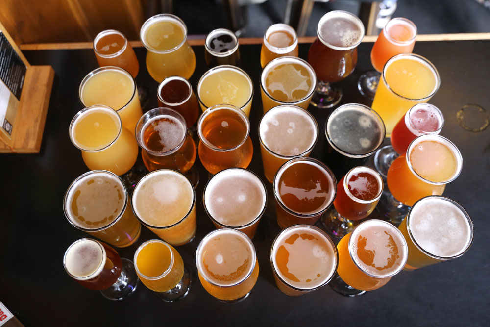 Assorted poured beers