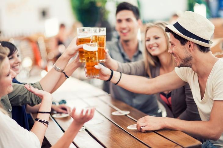 beer garden glassware and friends